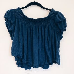 FREE PEOPLE Blue Off the Shoulder Top